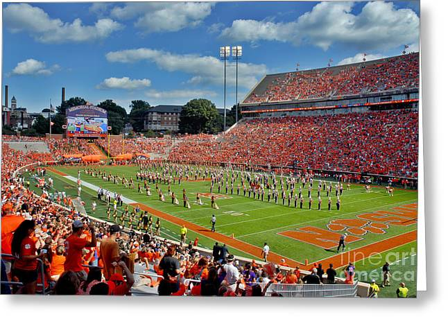 Deandre Greeting Cards - Clemson Tiger Band Memorial Stadium Greeting Card by Jeff McJunkin