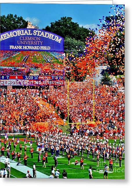 Jeff Mcjunkin Greeting Cards - Clemson Tigers Memorial Stadium Greeting Card by Jeff McJunkin
