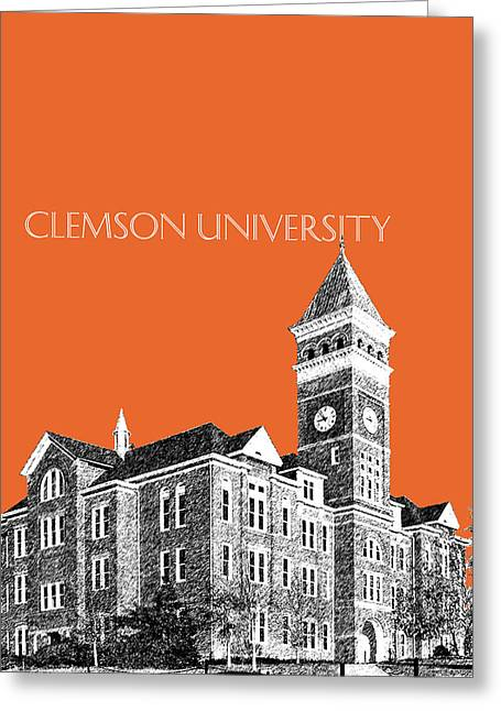 Pen Digital Greeting Cards - Clemson University - Coral Greeting Card by DB Artist