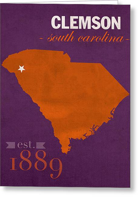 Carolina Mixed Media Greeting Cards - Clemson University Tigers College Town South Carolina State Map Poster Series No 030 Greeting Card by Design Turnpike