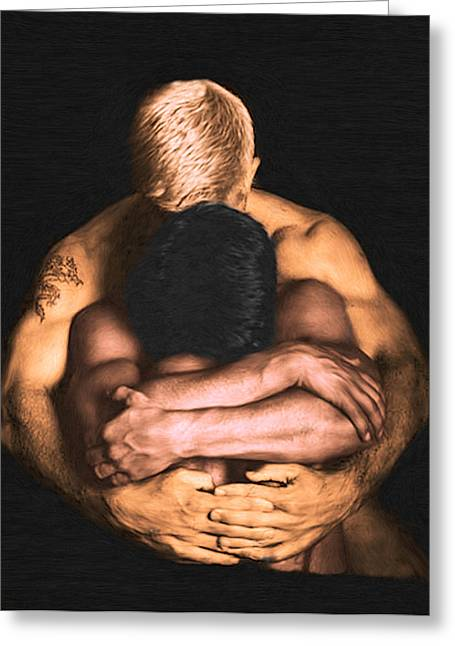 Nude Gay Couple Art Greeting Cards - Clenched  Greeting Card by Troy Caperton