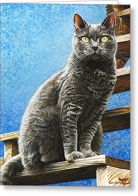 Prussian Blue Greeting Cards - Cleo Greeting Card by Cara Bevan
