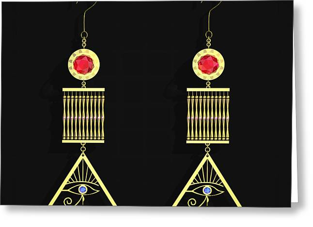 Gold Earrings Greeting Cards - Cleo Ear Gear Greeting Card by Walter Oliver Neal