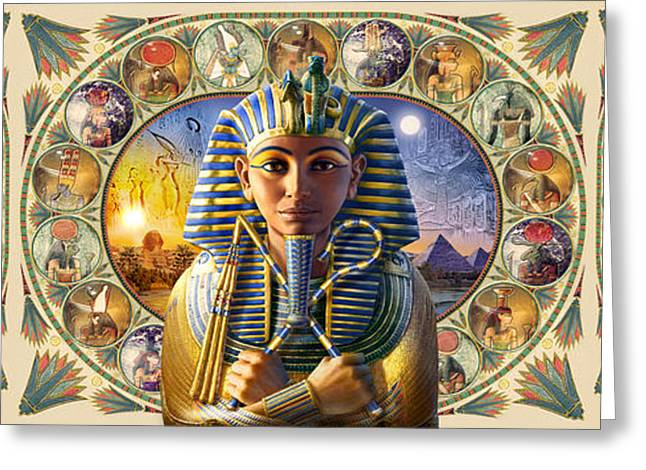 Pharaoh Digital Art Greeting Cards - Cleo Tut Neffi Triptych Greeting Card by Andrew Farley