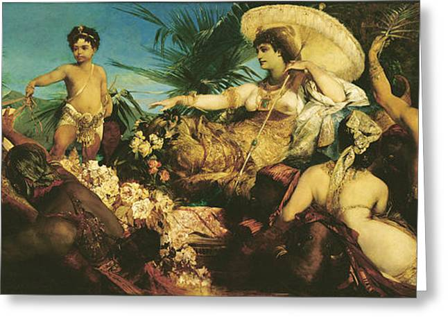 Entourage Greeting Cards - Cleopatra, 1875 Oil On Canvas Greeting Card by Hans Makart