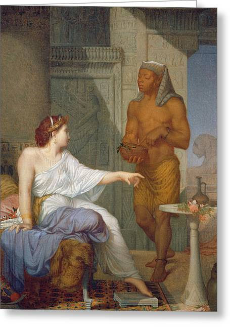 Cushion Paintings Greeting Cards - Cleopatra and her Slave  Greeting Card by Henri Blaise Francois Dejussieu