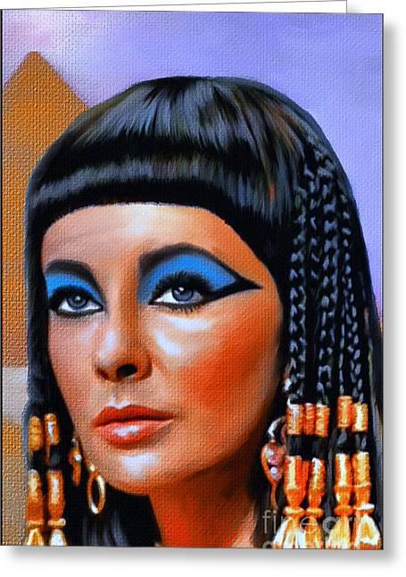 Liz Taylor Greeting Cards - Cleopatra  Greeting Card by Andrzej Szczerski