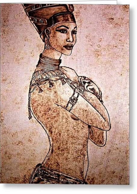 Princes Pyrography Greeting Cards - Cleopatra Greeting Card by G S