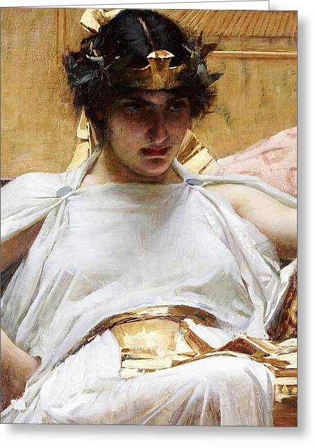 Close Up Paintings Greeting Cards - Cleopatra Greeting Card by John William Waterhouse