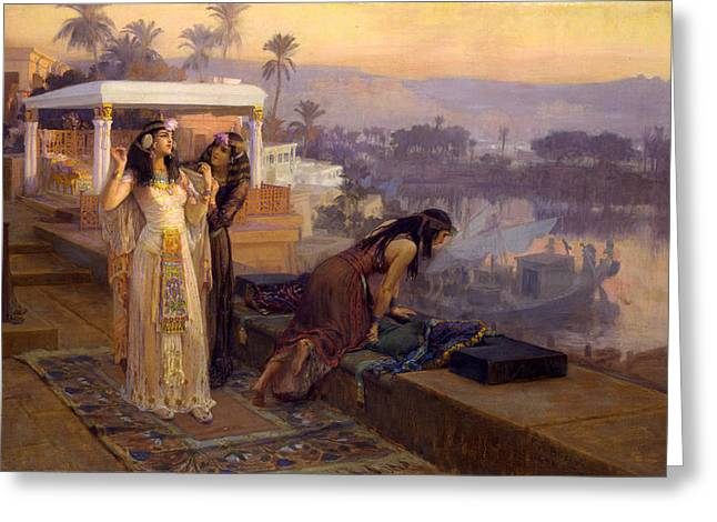 Phila Paintings Greeting Cards - Cleopatra on the Terraces of Philae Greeting Card by Frederick Arthur Bridgman