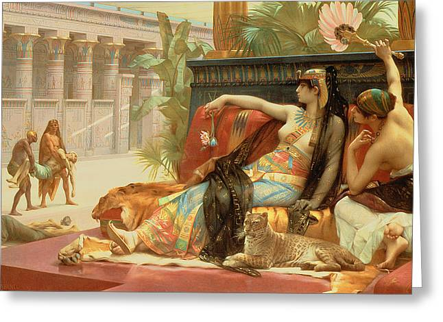 Prisoner Paintings Greeting Cards - Cleopatra Testing Poisons on Those Condemned to Death Greeting Card by Alexandre Cabanel