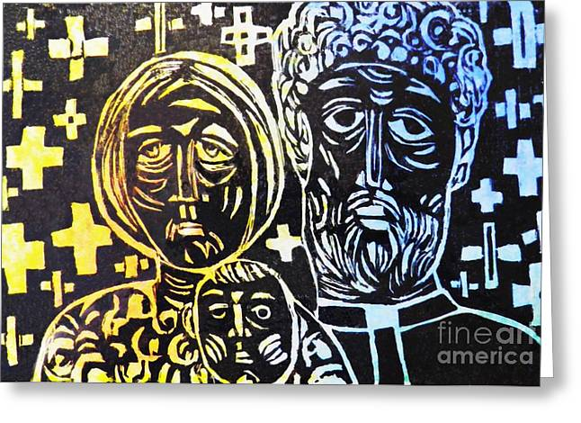 Religious Mixed Media Greeting Cards - Clergy Family Greeting Card by Sarah Loft