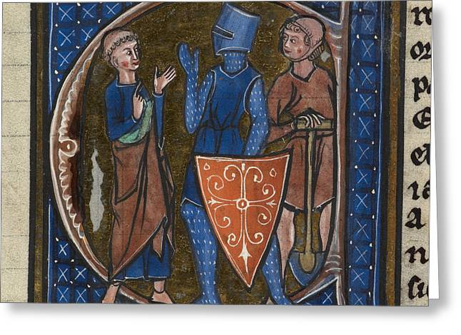Chain Mail Greeting Cards - Cleric, Knight And Workman Greeting Card by British Library