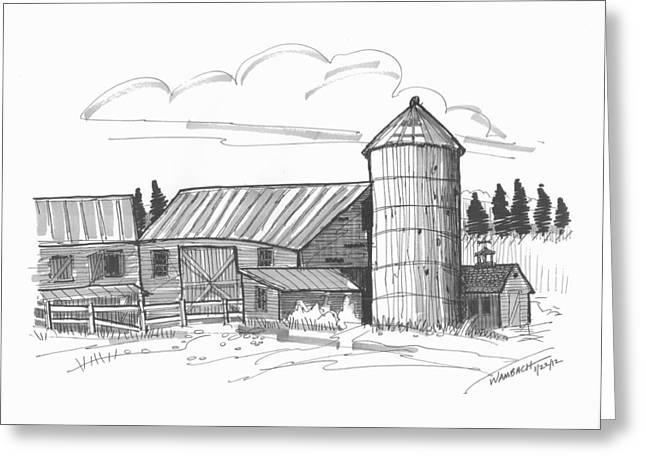 Barn Yard Drawings Greeting Cards - Clermont Barn 2 Greeting Card by Richard Wambach