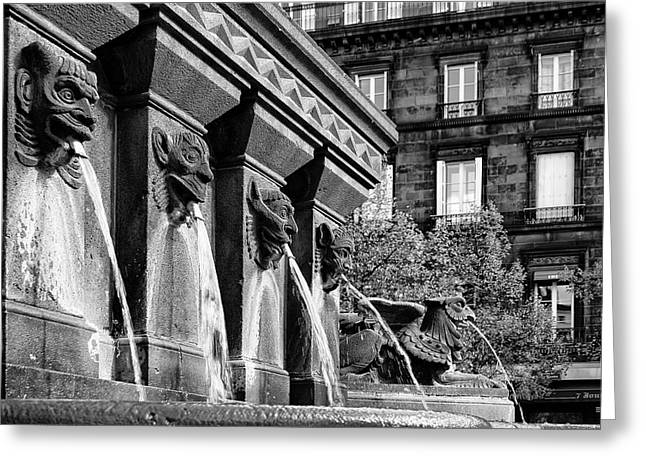 Fowler Park Greeting Cards - Clermont Ferrand Fountain Greeting Card by Nomad Art And  Design