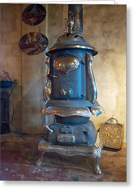 Wood Stove Greeting Cards - Clermont No 136 Pot Belly Stove Greeting Card by Mary Lee Dereske