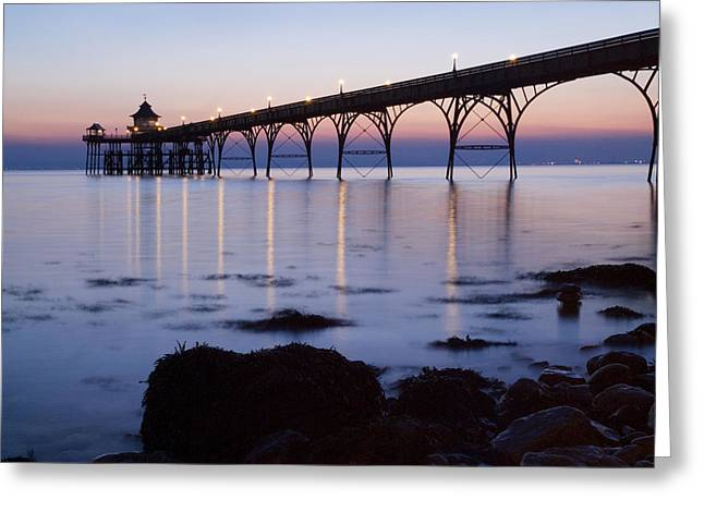 Clevedon Greeting Cards - Clevedon Pier at twilight Greeting Card by Robert Down