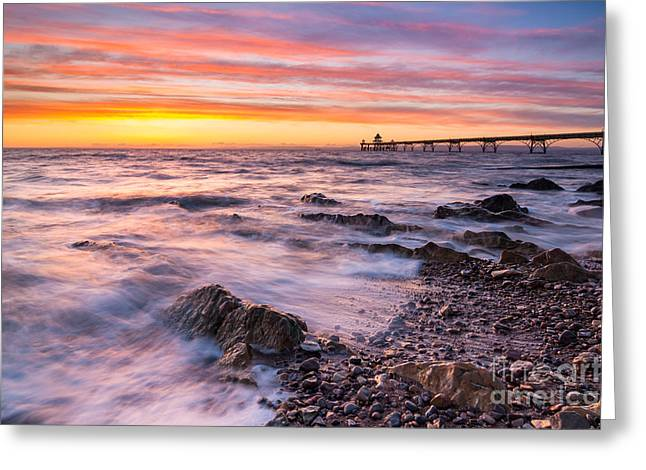 Clevedon Greeting Cards - Clevedon Sunset Greeting Card by Daugirdas Racys