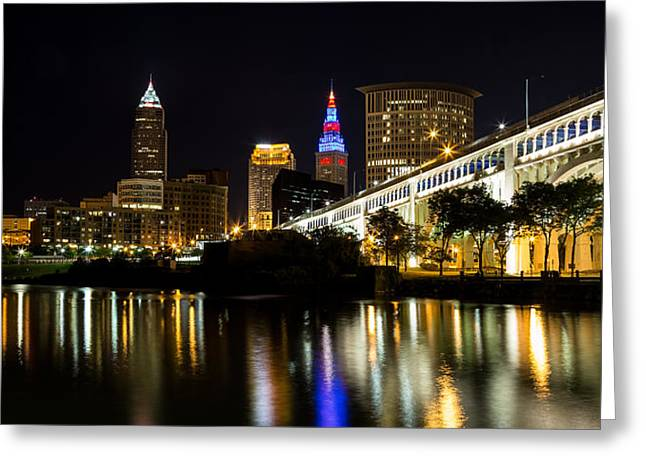 Cleveland At Night Panoramic Greeting Card by Dale Kincaid