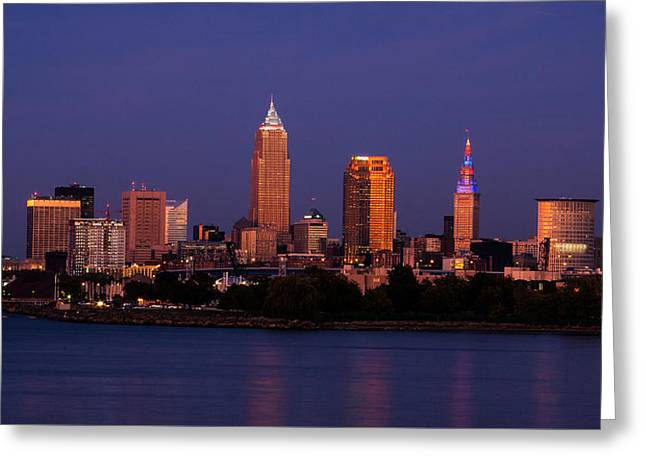Night Scenes Greeting Cards - Cleveland At Twilight Greeting Card by Dale Kincaid