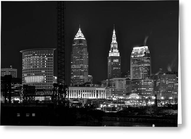 Black Commerce Greeting Cards - Cleveland Black and White Night II Greeting Card by Frozen in Time Fine Art Photography