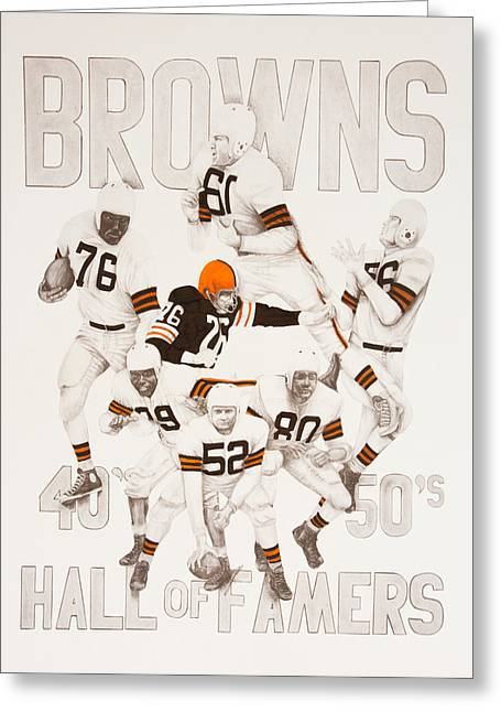Joe Lisowski Greeting Cards - Cleveland Browns 40s to 50s Hall of Famers Greeting Card by Joe Lisowski