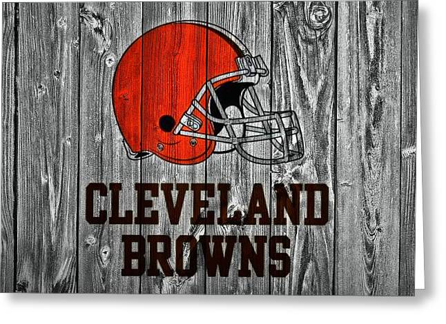 National Football League Greeting Cards - Cleveland Browns Barn Door Greeting Card by Dan Sproul