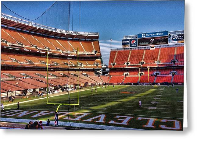 Nfl Sports Greeting Cards - Cleveland Browns Greeting Card by Dan Sproul