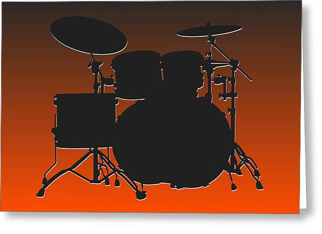 Drum Greeting Cards - Cleveland Browns Drum Set Greeting Card by Joe Hamilton