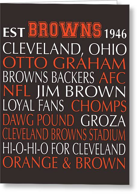 Football Words Greeting Cards - Cleveland Browns Greeting Card by Jaime Friedman
