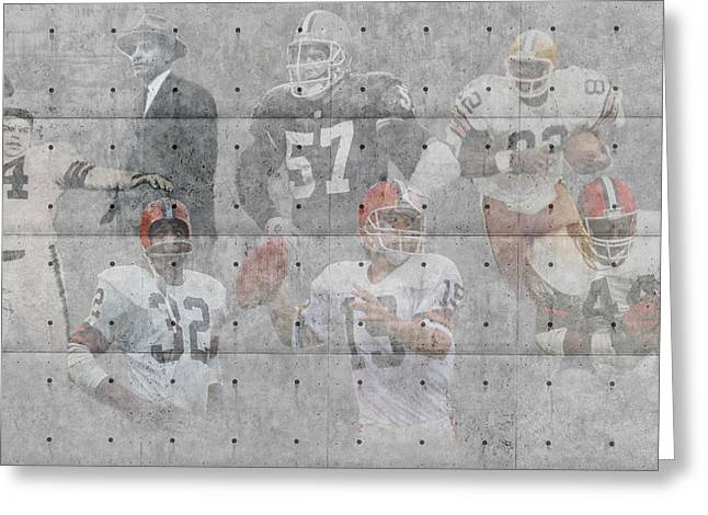 Snow Greeting Cards Greeting Cards - Cleveland Browns Legends Greeting Card by Joe Hamilton