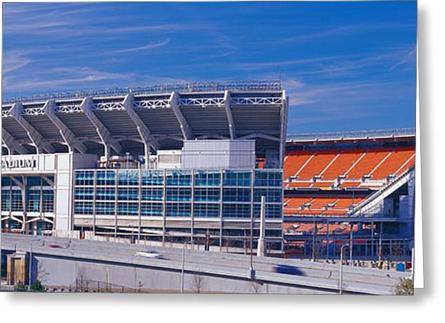 Ohs Greeting Cards - Cleveland Browns Stadium Cleveland Oh Greeting Card by Panoramic Images