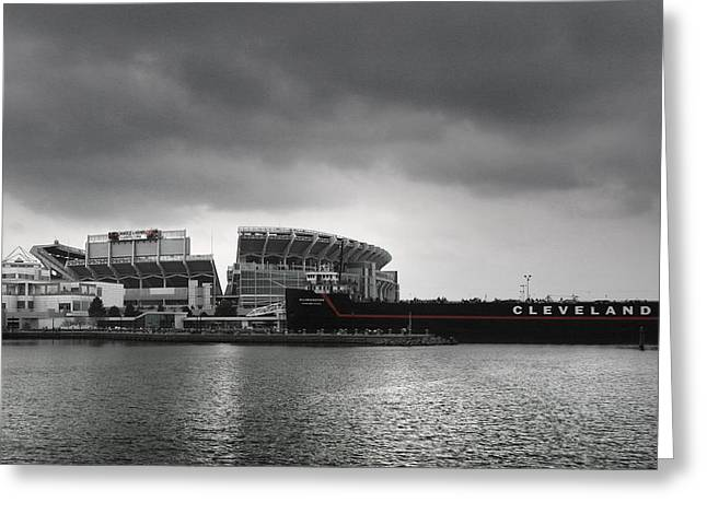 Ships And Boats Greeting Cards - Cleveland Browns Stadium From The Inner Harbor Greeting Card by Kenneth Krolikowski