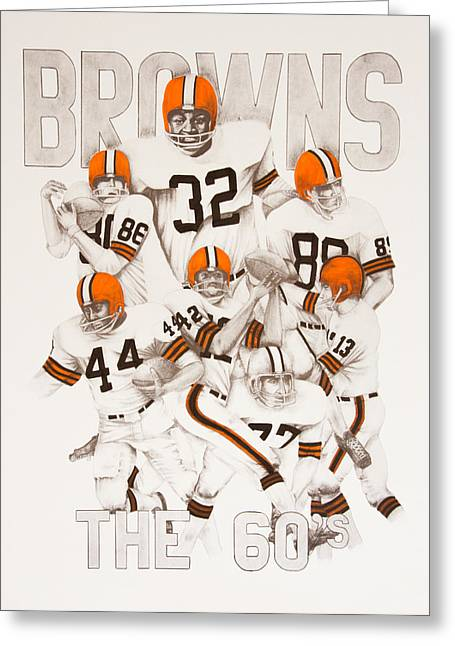 Joe Lisowski Greeting Cards - Cleveland Browns - The 60s Greeting Card by Joe Lisowski