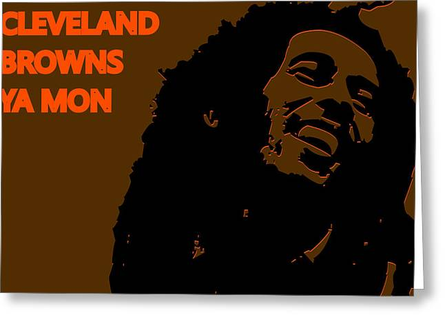 Drum Greeting Cards - Cleveland Browns Ya Mon Greeting Card by Joe Hamilton