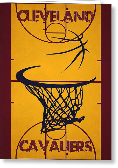 Dunk Greeting Cards - Cleveland Cavaliers Court Greeting Card by Joe Hamilton