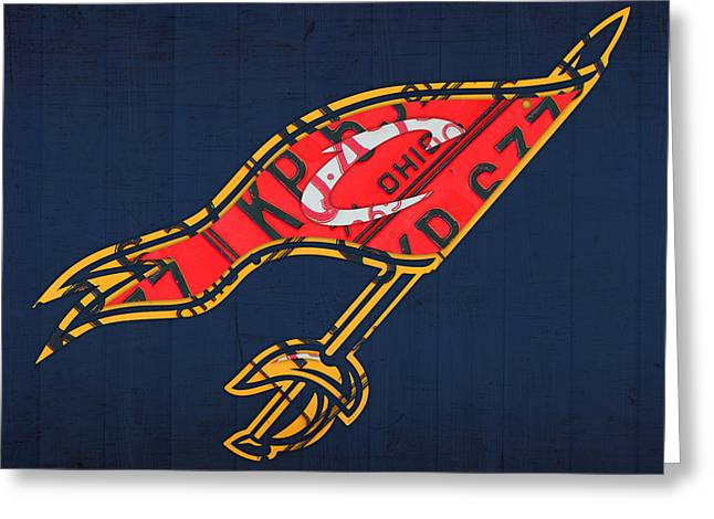 Nba Art Greeting Cards - Cleveland Cavaliers NBA Team Retro Logo Vintage Recycled License Plate Art Greeting Card by Design Turnpike