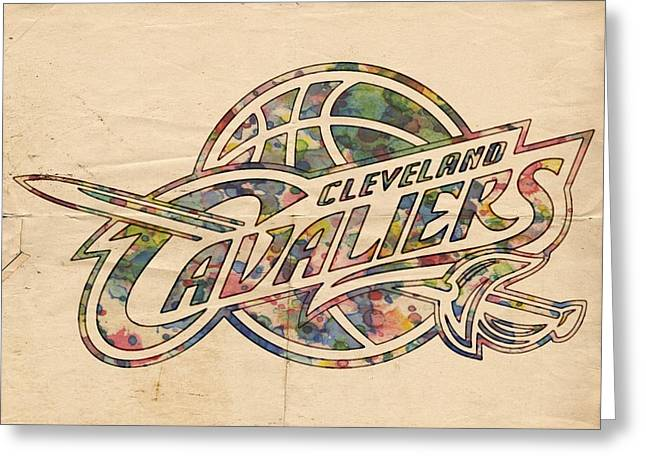 Slamdunk Digital Greeting Cards - Cleveland Cavaliers Poster Art Greeting Card by Florian Rodarte