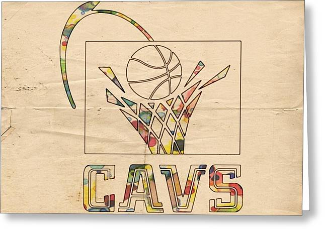 Slamdunk Digital Greeting Cards - Cleveland Cavaliers Vintage Logo Greeting Card by Florian Rodarte