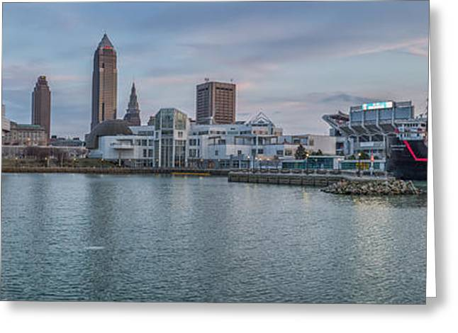 Light And Dark Greeting Cards - Cleveland Cityscape Greeting Card by Jennifer Grover