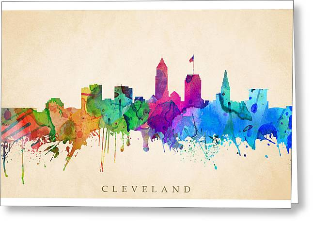Steve Will Greeting Cards - Cleveland Cityscape Greeting Card by Steve Will