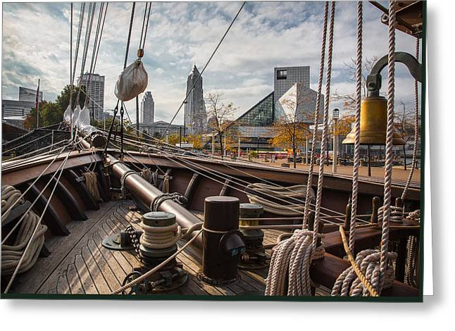 Best Sellers -  - Wooden Ship Greeting Cards - Cleveland From The Deck Of The Peacemaker Greeting Card by Dale Kincaid