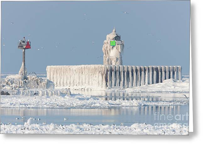 Clarence Holmes Greeting Cards - Cleveland Harbor East Pierhead Light Greeting Card by Clarence Holmes