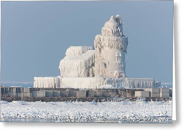 Clarence Holmes Greeting Cards - Cleveland Harbor West Pierhead Light Greeting Card by Clarence Holmes