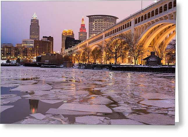 Cuyahoga River Greeting Cards - Cleveland Ice Chips Skyline Greeting Card by Clint Buhler