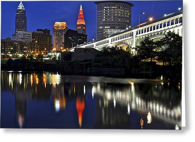 Architectural Landscape Greeting Cards - Cleveland Illuminated Greeting Card by Frozen in Time Fine Art Photography
