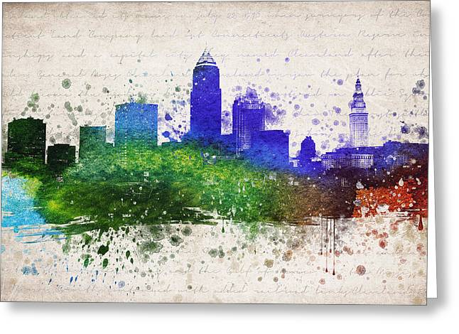 Cleveland Skyline Greeting Cards - Cleveland in Color Greeting Card by Aged Pixel