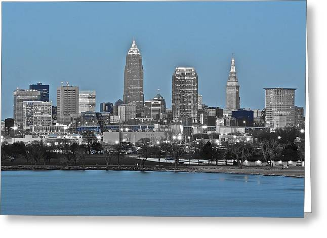 Town Square Greeting Cards - Cleveland in Selective Color Greeting Card by Frozen in Time Fine Art Photography
