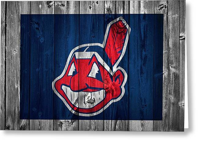 Old Barns Mixed Media Greeting Cards - Cleveland Indians Barn Door Greeting Card by Dan Sproul