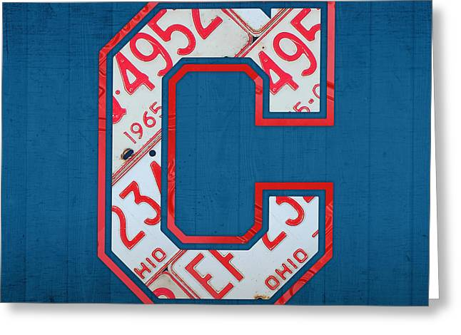 Cleveland Indians Greeting Cards - Cleveland Indians Baseball Team Vintage Logo Recycled Ohio License Plate Art Greeting Card by Design Turnpike